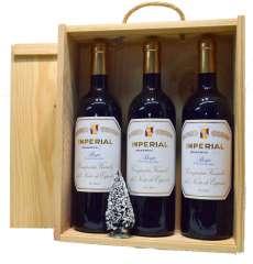 Червени вина 3 Imperial  en caja de madera